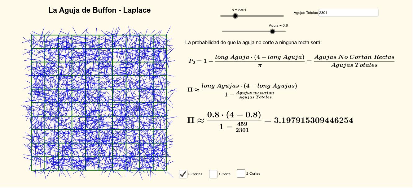 La Aguja de Buffon-Laplace generalizado a un tablero de cuadrículas.