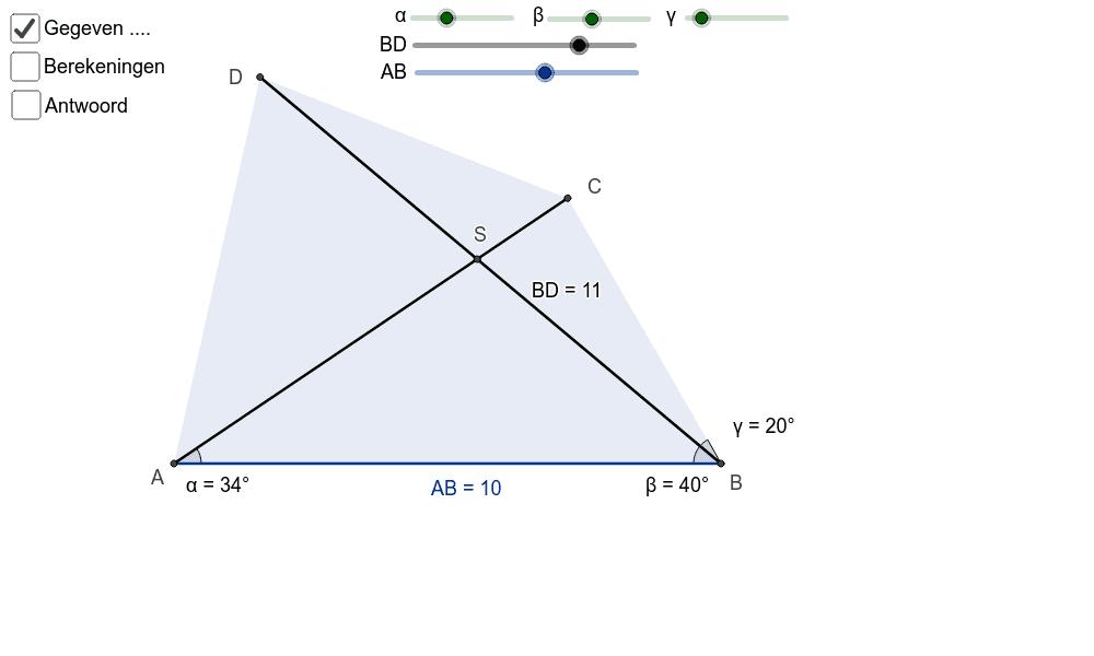 opdracht 1: gegeven vierhoek ABCD, bereken CD