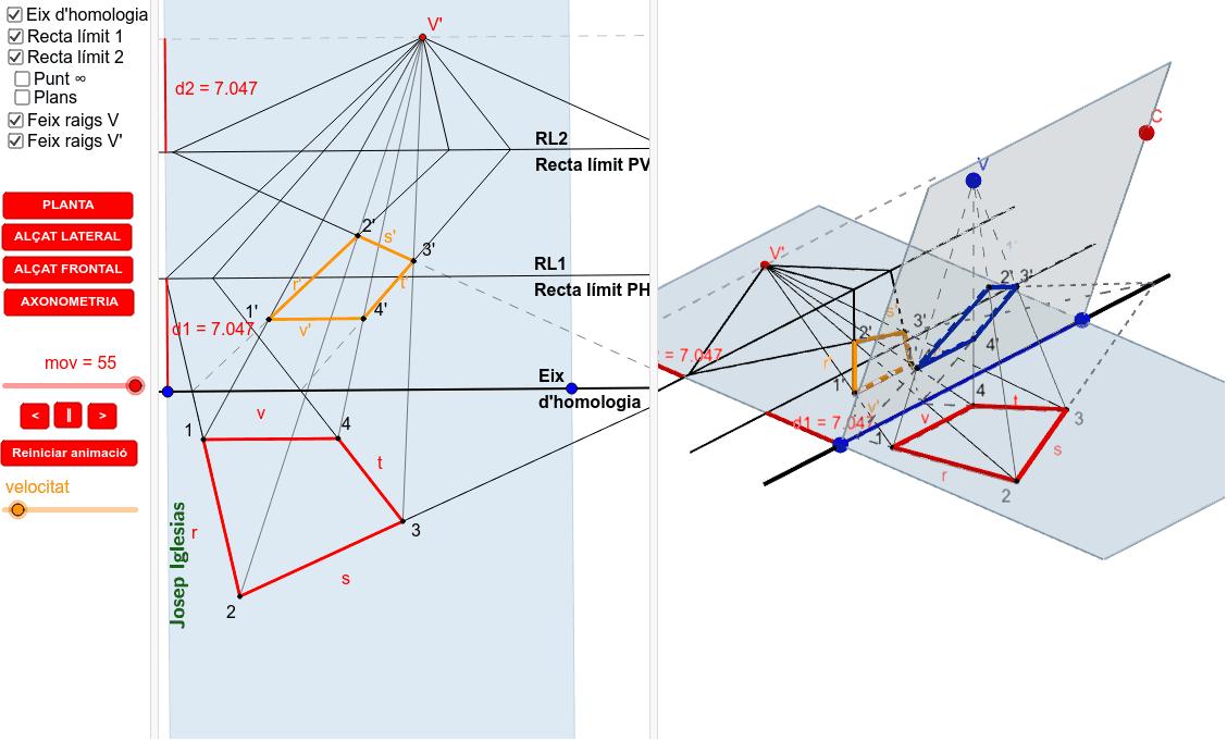 Quan fem l'abatiment del pla d'intersecció al costat contrari de la base de la piràmide, respecte l'eix d'homologia. Premeu Enter per iniciar l'activitat