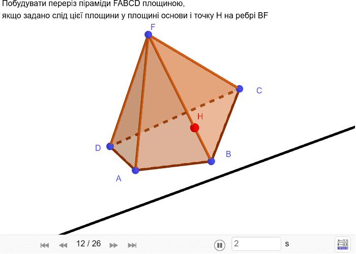 Піраміда, слід січної площини у площині основи Press Enter to start activity