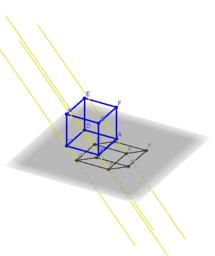 Abbildung eines 3D-Würfels in die Ebene mit einer Matrix