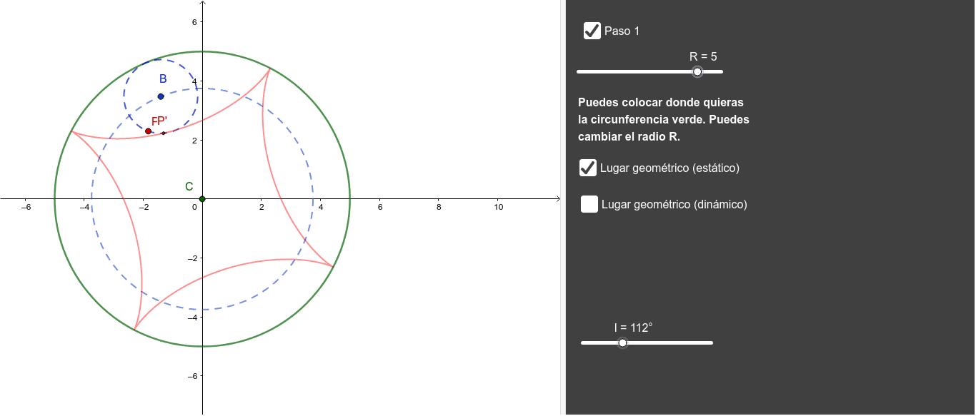 """Tenemos dos circunferencias de radios r y r/4 tangentes interiores. La pequeña rueda sin deslizar por el interior de la grande. Halla el lugar geom. de un punto fijo P de la pequeña. Tapez """"Entrée"""" pour démarrer l'activité"""