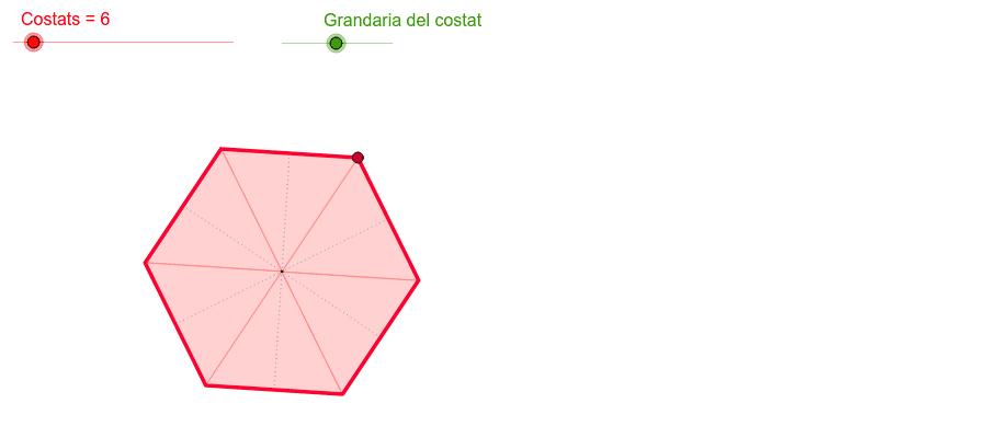 Amplia o redueix amb els punts lliscants el nombre i la grandària dels costats. Com interpretes la circumferència? És o no un polígon? Press Enter to start activity