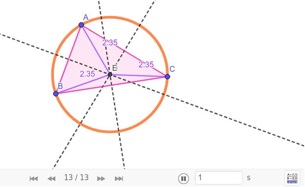 Fíjate cómo hemos realizado el siguiente estudio del triángulo (pulsa en los botones de la parte inferior para verlo paso a paso) Press Enter to start activity