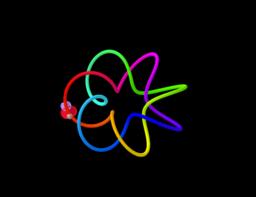 Mariposa trazando curvas de colores