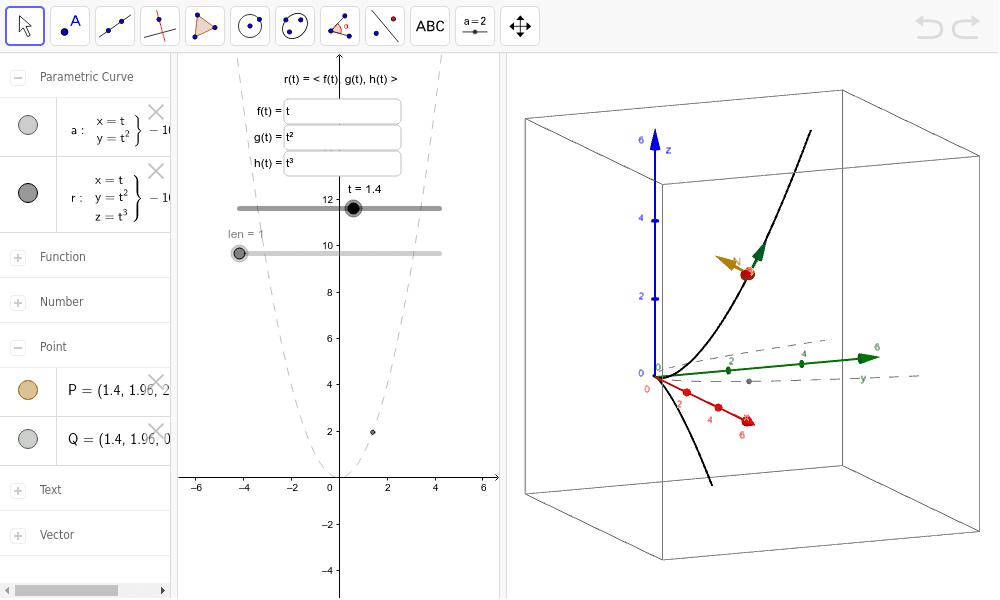 Unit Tangent, Normal, and Binormal Vectors – GeoGebra
