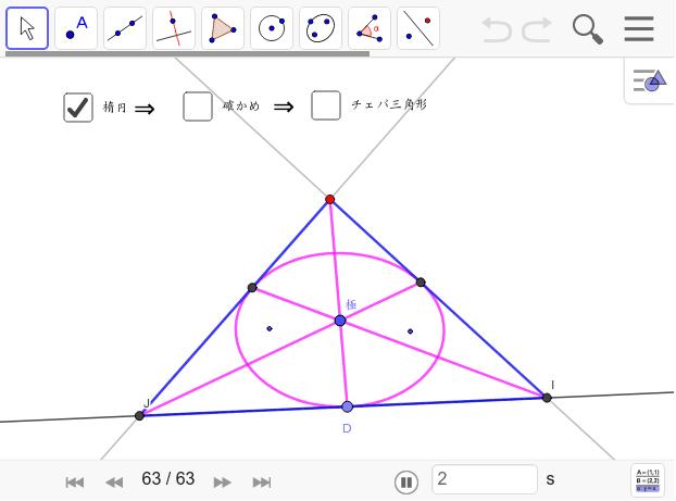 これを作図するには極線が必要。試しに作図してみよう。簡単にはできないはず。極線の威力の一つ。