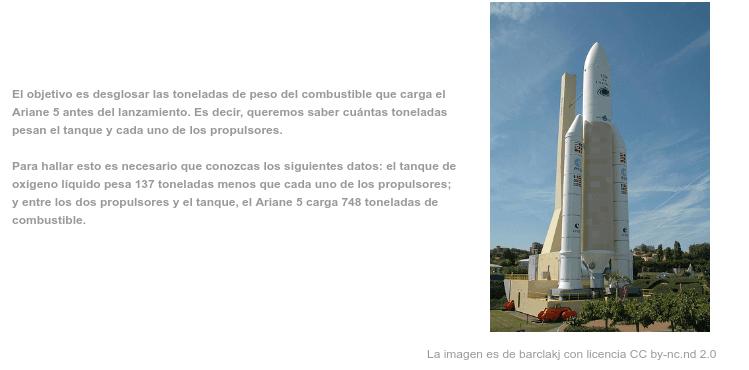 Equações com o combustível do Ariane 5 Pressione Enter para iniciar a atividade