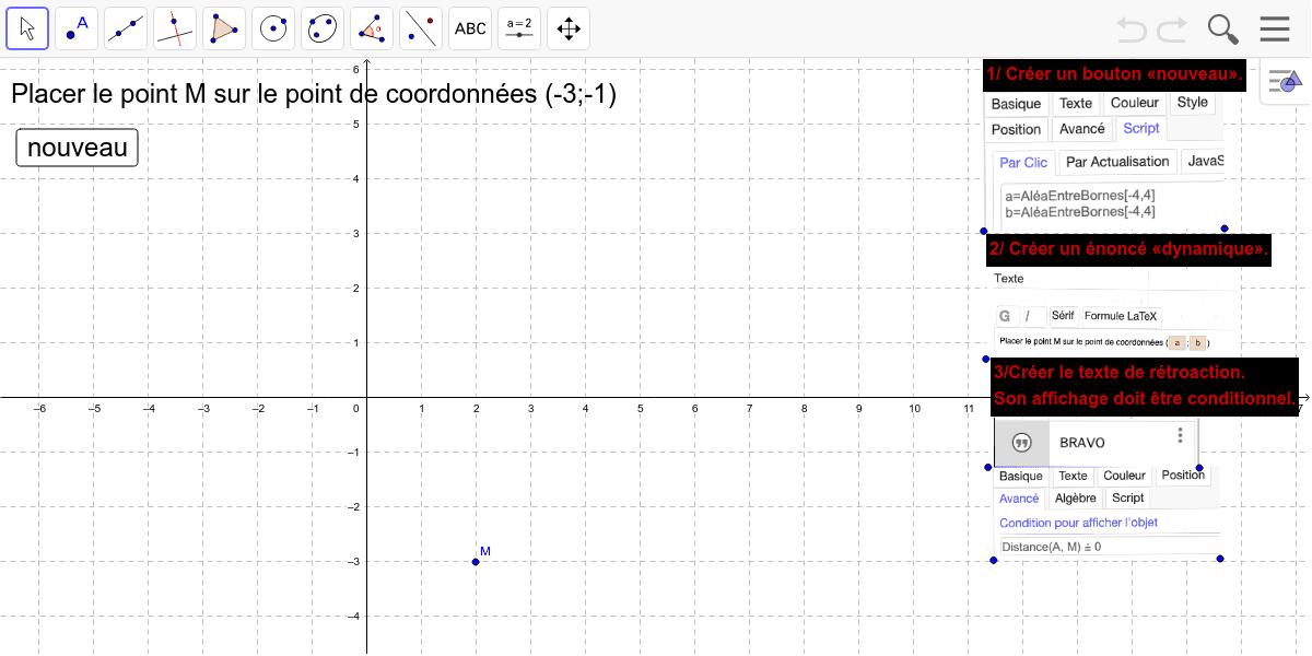 """Tuto : créer un exercice auto-correctif à partir d'un affichage conditionnel (pédagogie de projet en 4ème). Tapez """"Entrée"""" pour démarrer l'activité"""