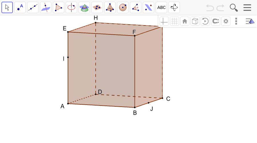 """Construire la section du cube par le plan (HIJ). Tapez """"Entrée"""" pour démarrer l'activité"""