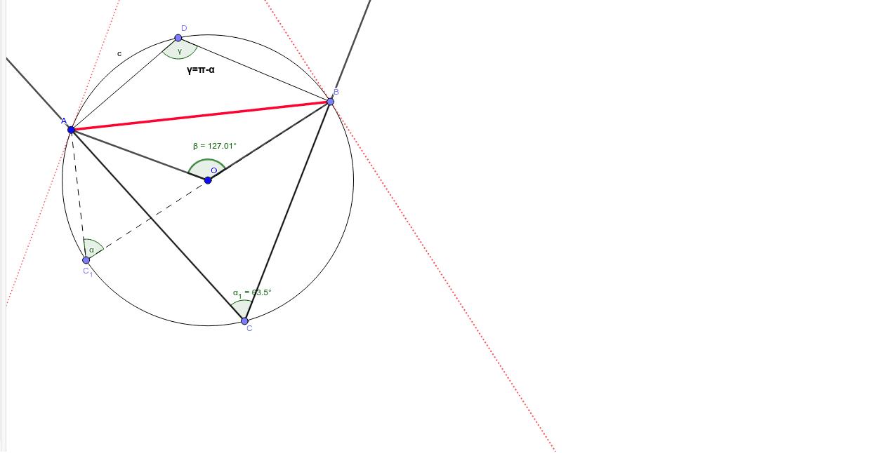 Verifica, che muovendo il punto C, tutti gli angoli alla circonferenza che insistono su AB sono congruenti, compresi quelli formati con le tangenti. Premi Invio per iniziare l'attività