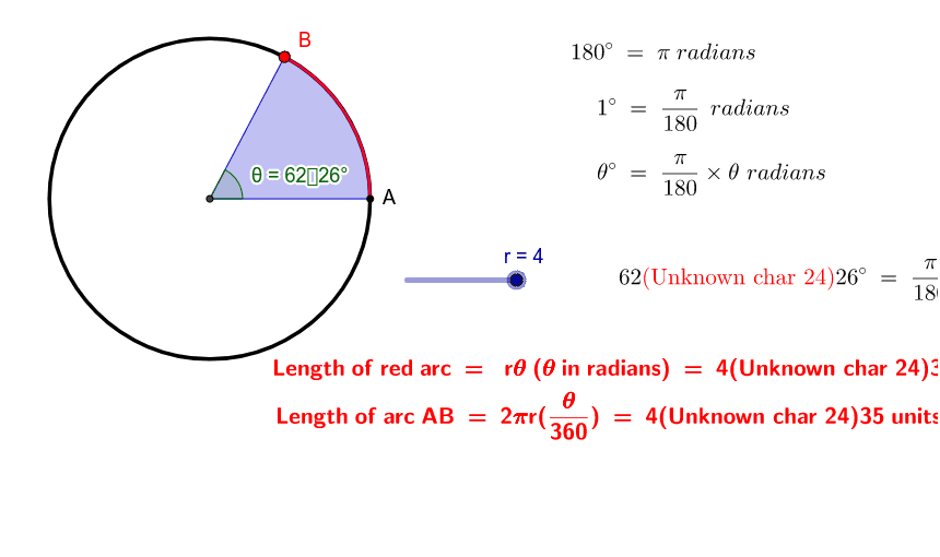 1. Move the slider r to vary the radius.            2. Select and drag point B to vary the sector.