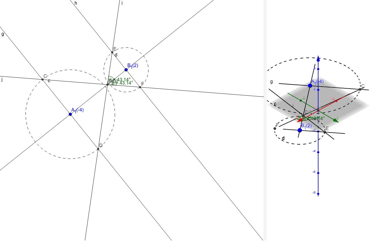 V kótovaném promítání zobrazte přímku p, která je určena body A, B ; A[  -2;3; -4], B[3;-1;2]. Určete její průsečík s průmětnou a její odchylku od průmětny.