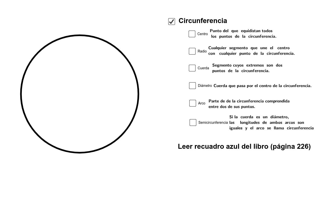 Una circunferencia es una curva cerrada y plana cuyos puntos están situados a la misma distancia de otro punto, llamado centro. Presiona Intro para comenzar la actividad