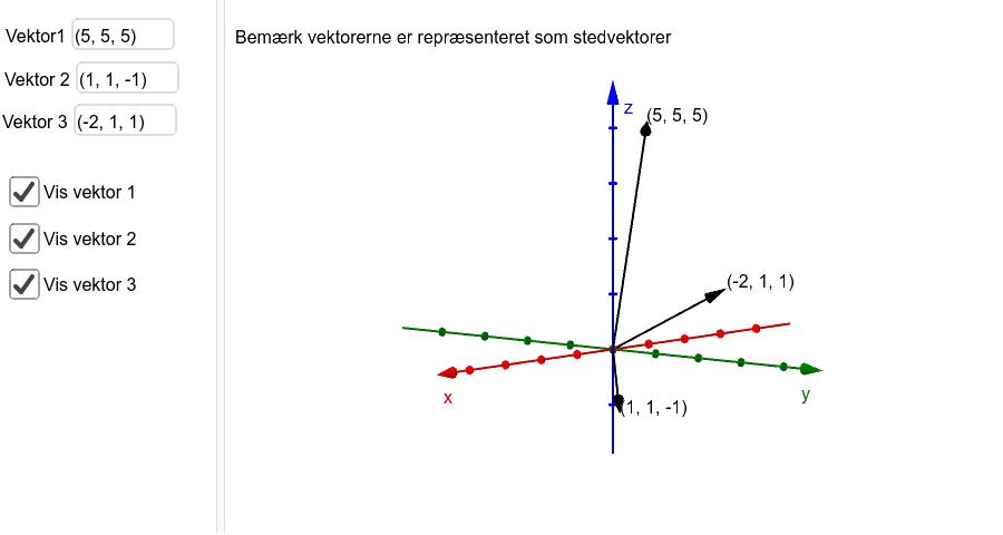 Du kan ændre vektorernes koordinater i felterne til venstre ved at indtaste de nye i feltet