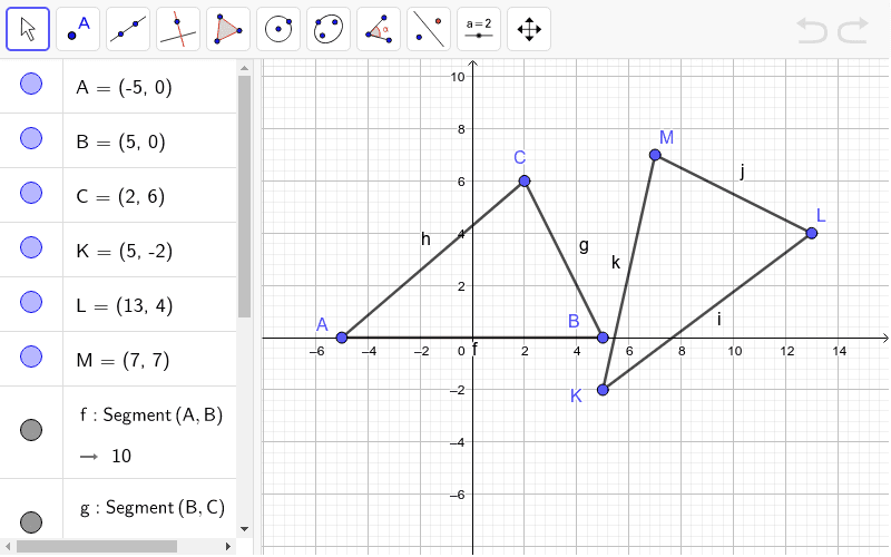 Find the lengths of each side and the measure of each angle of the triangles ABC and KLM.