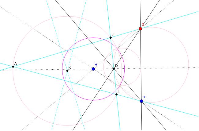 三角形BCDの頂点と対辺とが円Hに関してすべての極と極線になっているときこの円を極円という。 ワークシートを始めるにはEnter キーを押してください。