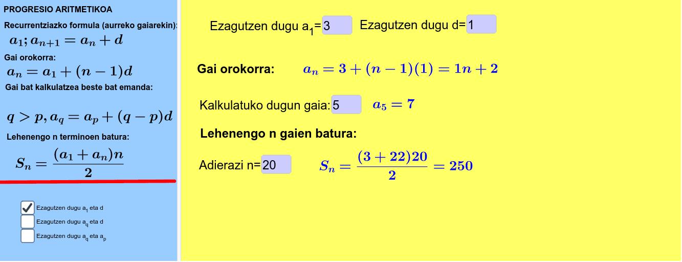 Progresio aritmetikoak osorik