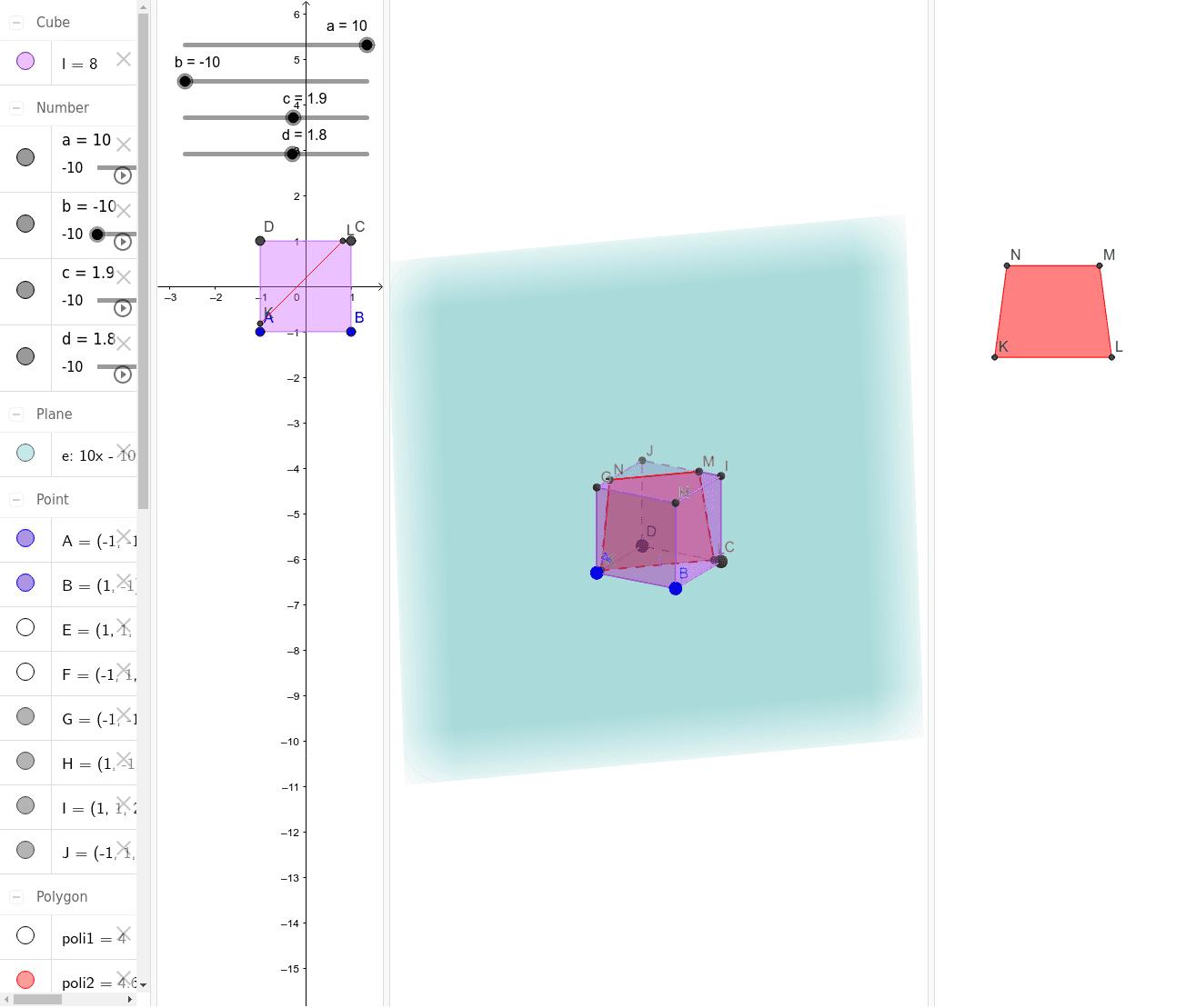 Esplorazione delle sezioni di un cubo con un generico piano (dato con l'equazione) Premi Invio per avviare l'attività