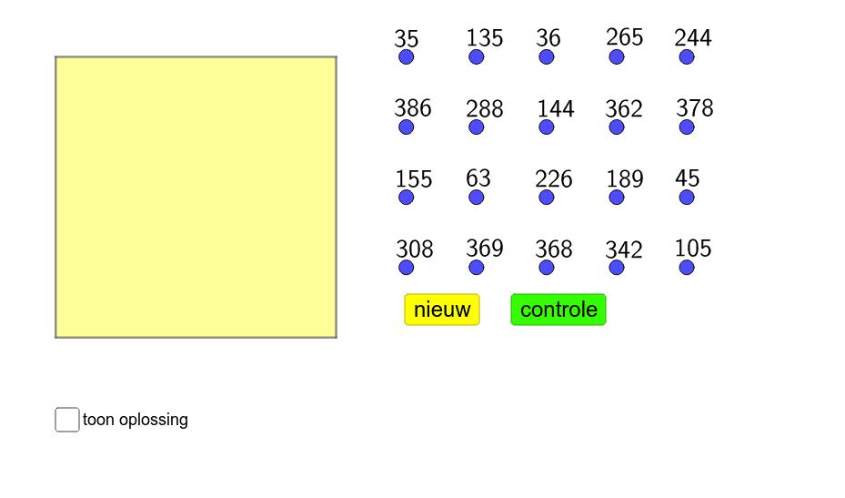 Versleep de veelvouden van 9 naar het gele vierkant