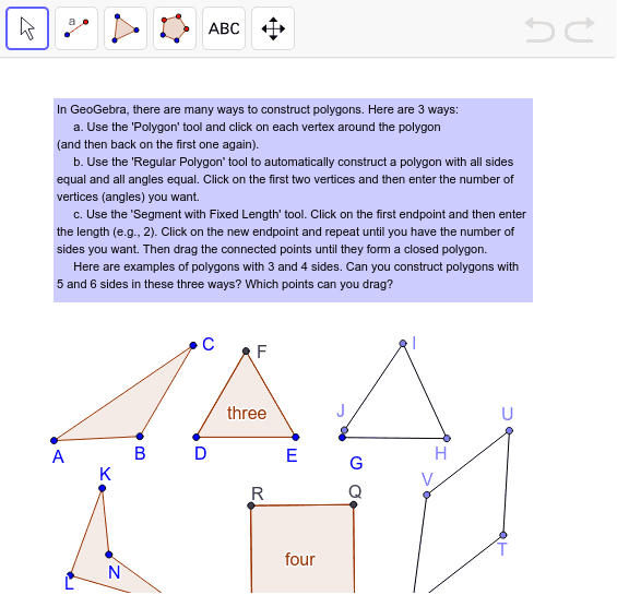 Challenge 6. Construct Polygons in Different Ways  Press Enter to start activity