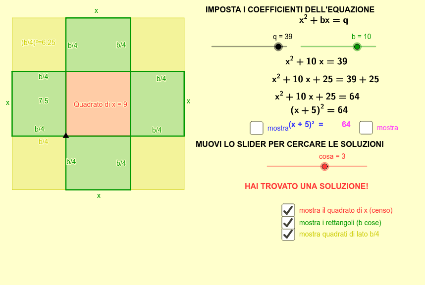Completamento del quadrato Premi Invio per avviare l'attività