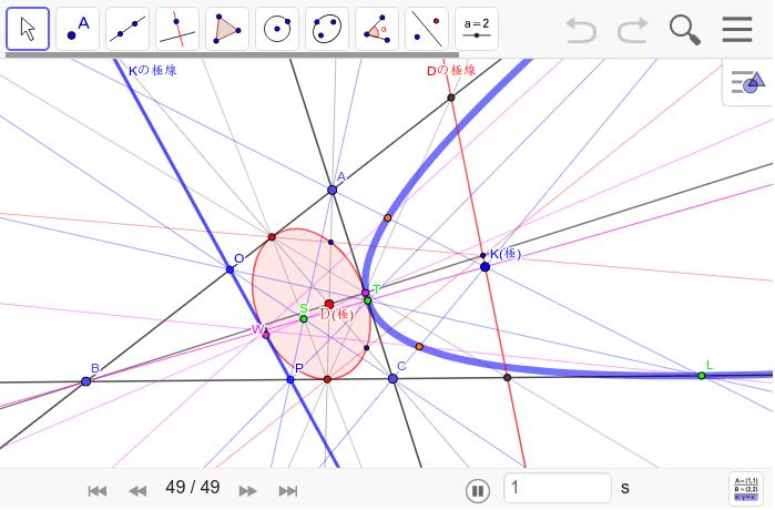 元の図に戻ってみる。Sが外接四角形の極。作図の順をたどれば相互の点の関係が見えてくる。Kを動かすには左下の▲をクリック。Dを動かすと双曲線になる。なんだ、こんなことだったのかと感じる。 ワークシートを始めるにはEnter キーを押してください。