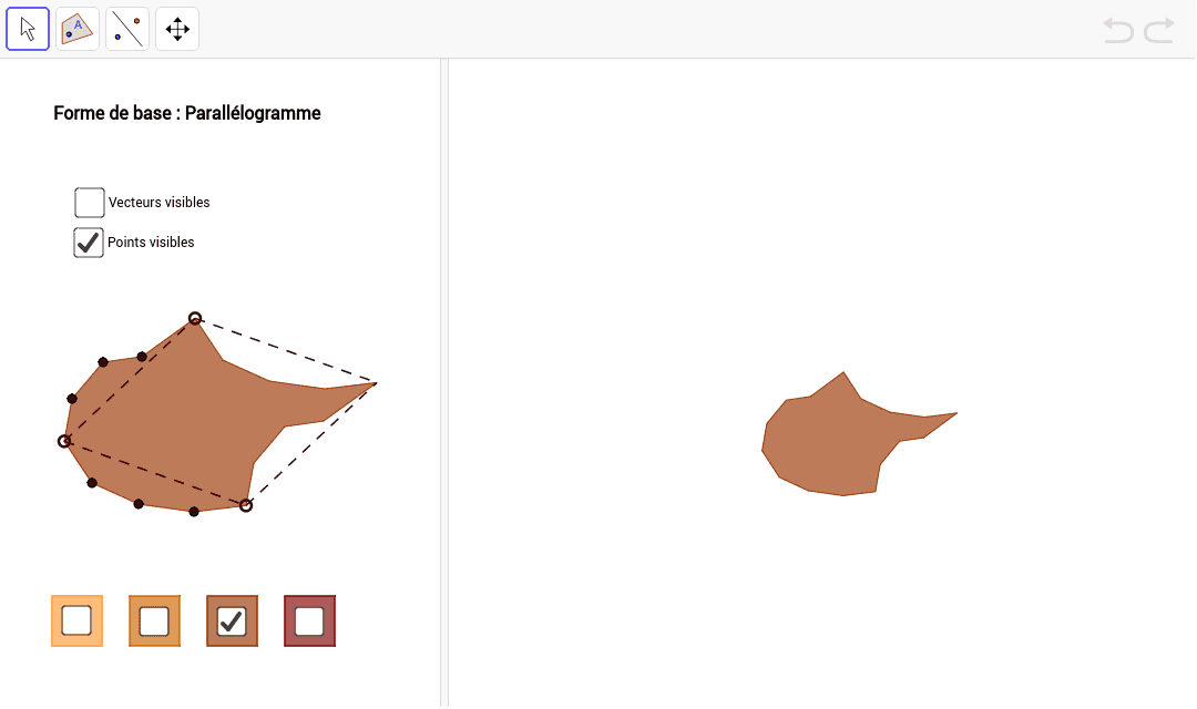"""Réaliser un pavage à l'aide d'isométries. La figure de base est modifiable. Tapez """"Entrée"""" pour démarrer l'activité"""