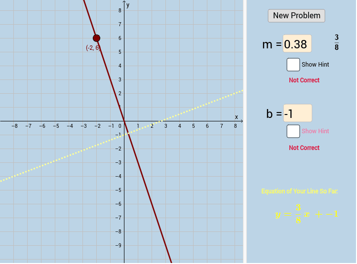 Applet #2: Change the equation of the yellow line to match the red line by changing the values of m and b on the right side of the applet. Press Enter to start activity