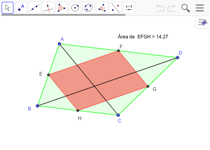 En la vista gráfica se muestra el paralelogramo de Varignon del cuadrilátero ABCD, y su área. Te propongo que explores y conjetures de qué forma se relaciona ésta con el cuadrilátero ABCD. Podés utilizar las herramientas distancia o longitud, área y/o áng Presiona Intro para comenzar la actividad