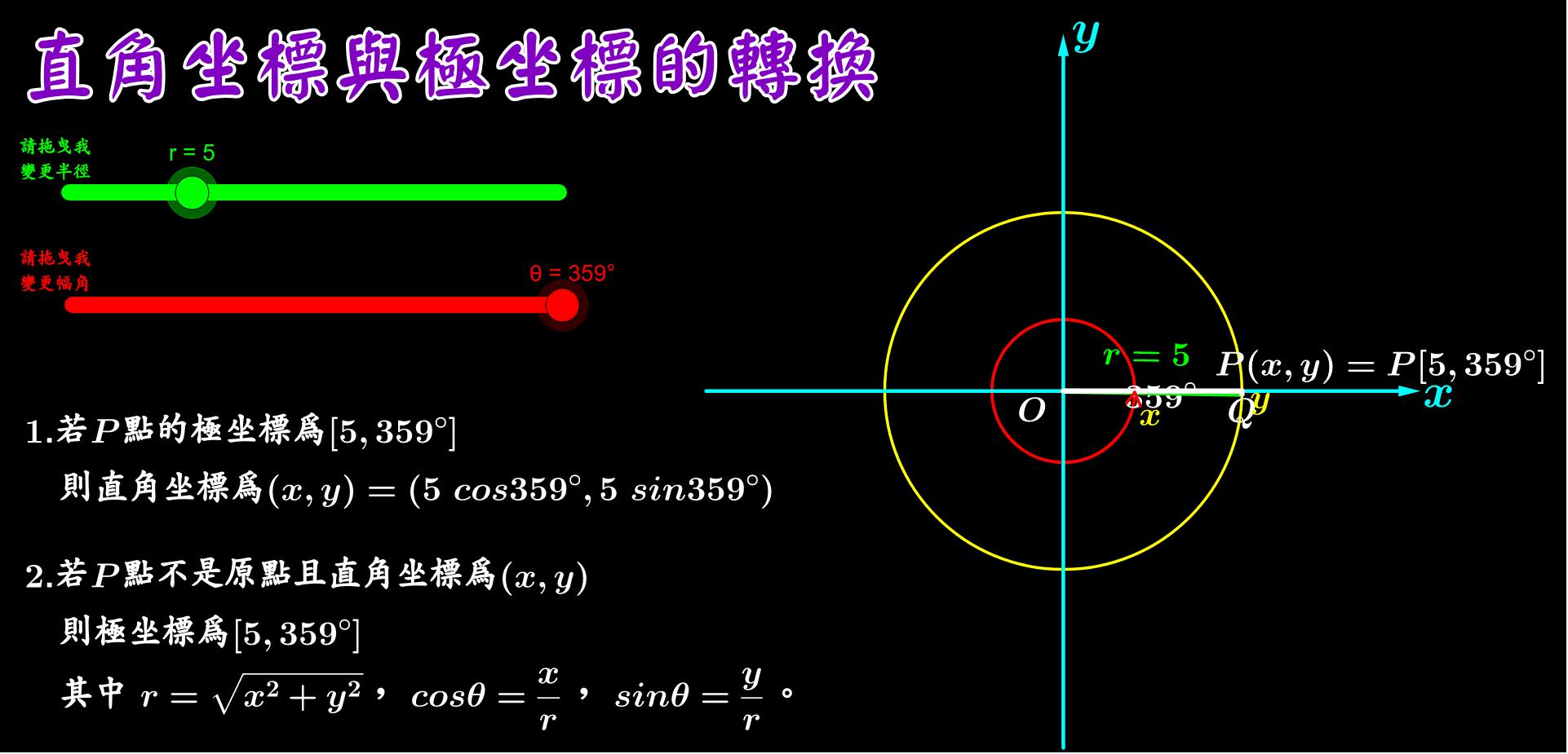 請拉動[數值滑桿]觀察座標的轉換 按 Enter 鍵開始活動