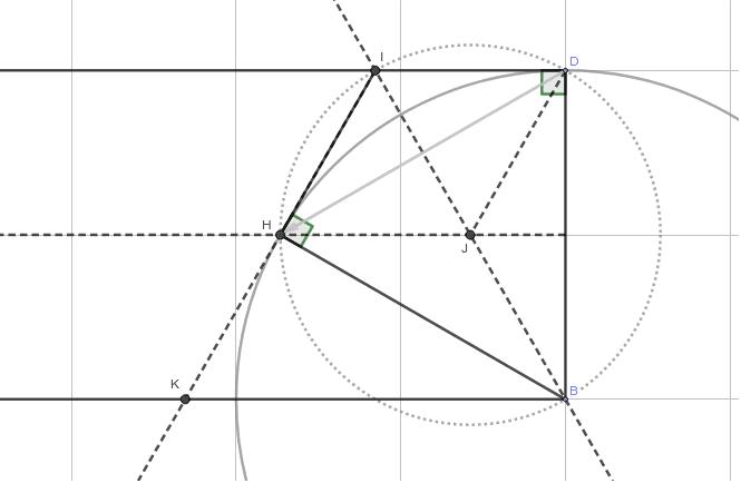 △IKBが正三角形であることを証明しよう。(Dを真ん中の線に合わせて折ると、正三角形を作ることができる)