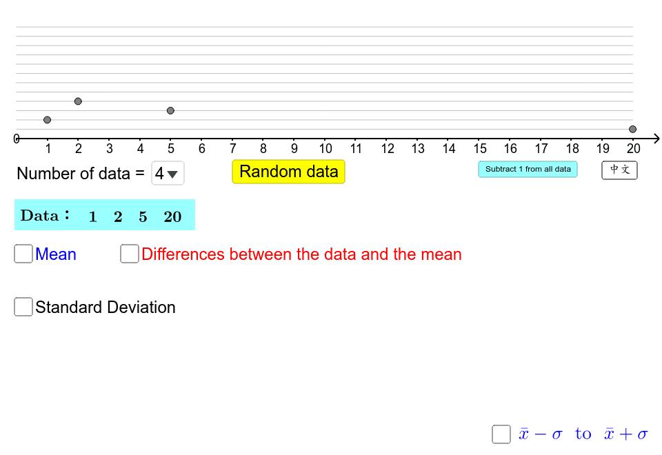 選擇數據數目(3至12個),拖拉圓點以改動數據(0至20)或按「隨機數據」。 按 Enter 鍵開始活動