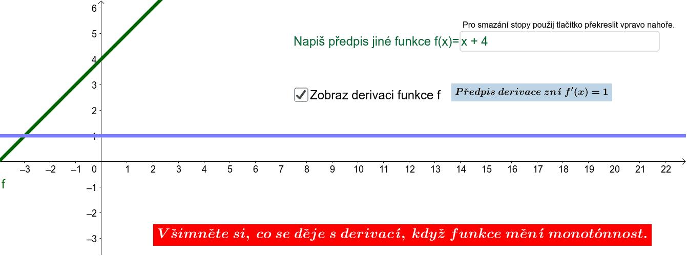 PRO ZÁPIS FUNKCÍ DOPORUČUJI VYUŽÍT NÁPOVĚDY https://wiki.geogebra.org/en/Predefined_Functions_and_Operators Zahajte aktivitu stisknutím klávesy Enter
