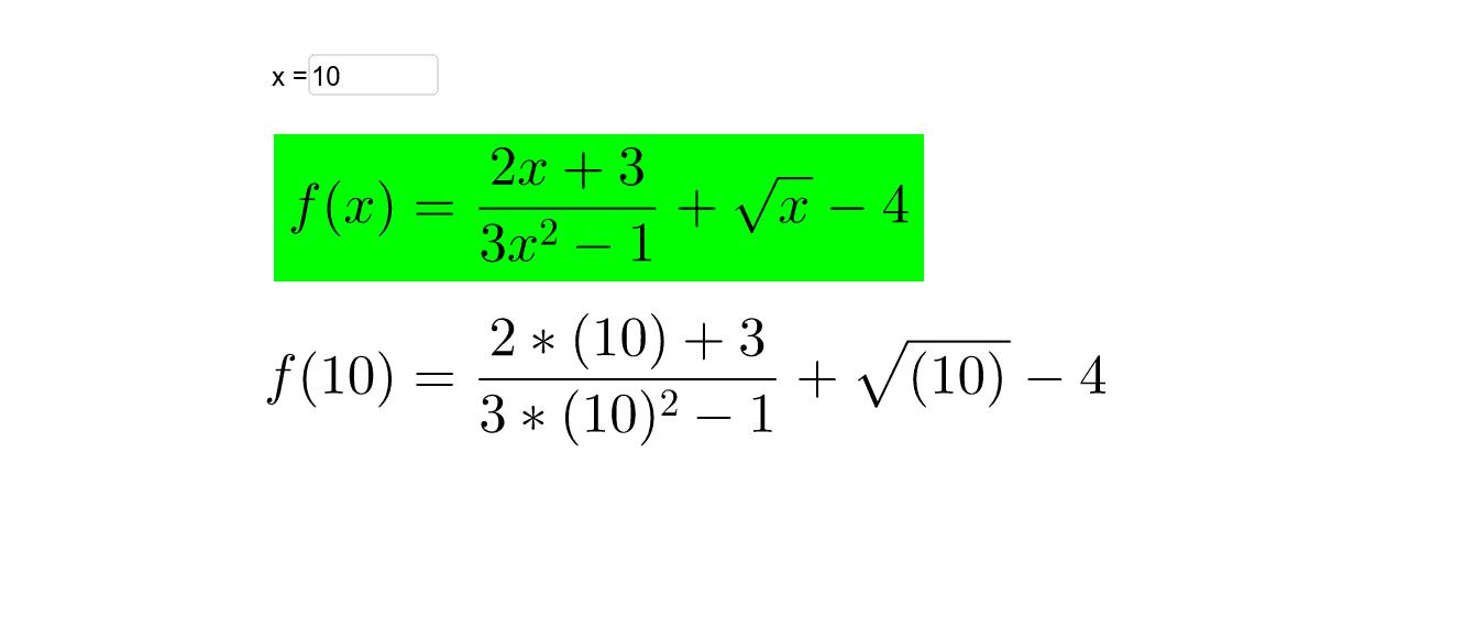 Cambie el valor de la variable independiene x por cualquier número entre -5000 y 5000. Presiona Intro para comenzar la actividad