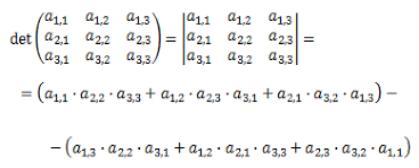 El determinante sigue el siguiente algoritmo