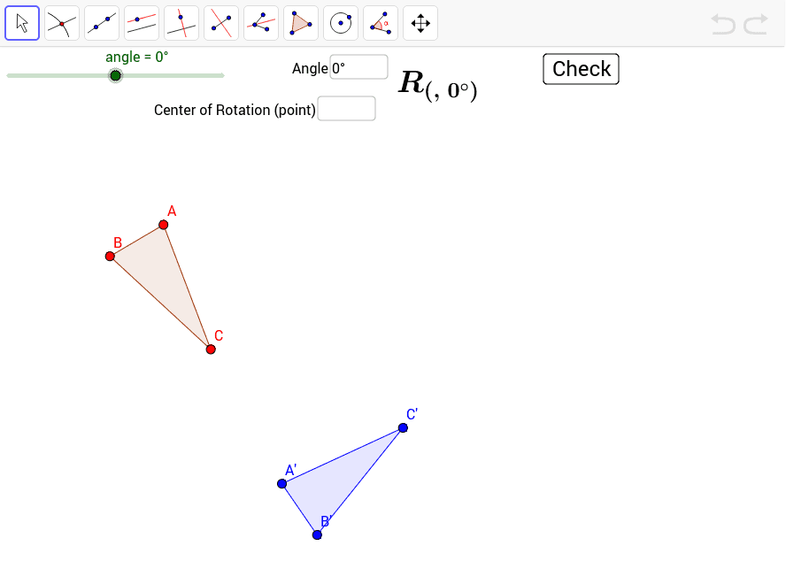 Find the center and the angle of rotation.