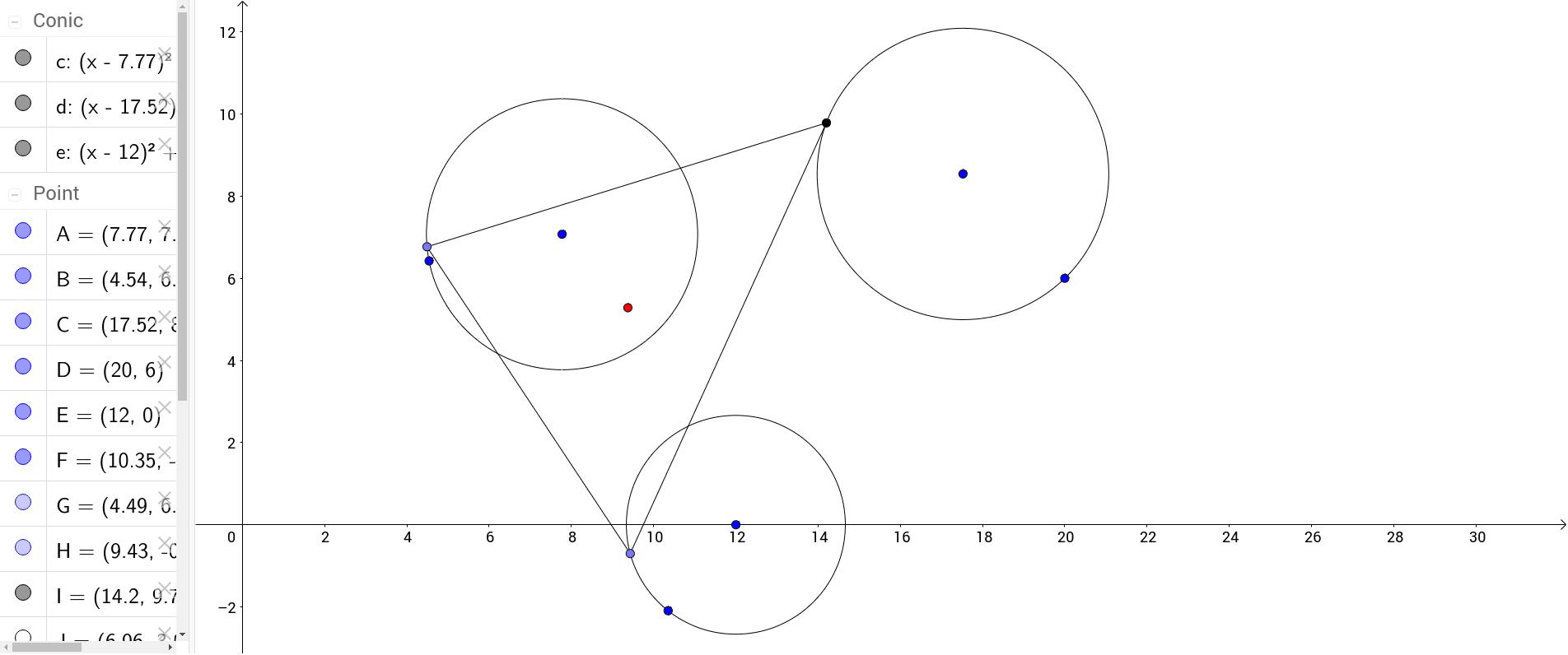 軌跡觀察---三圓上三角形重心