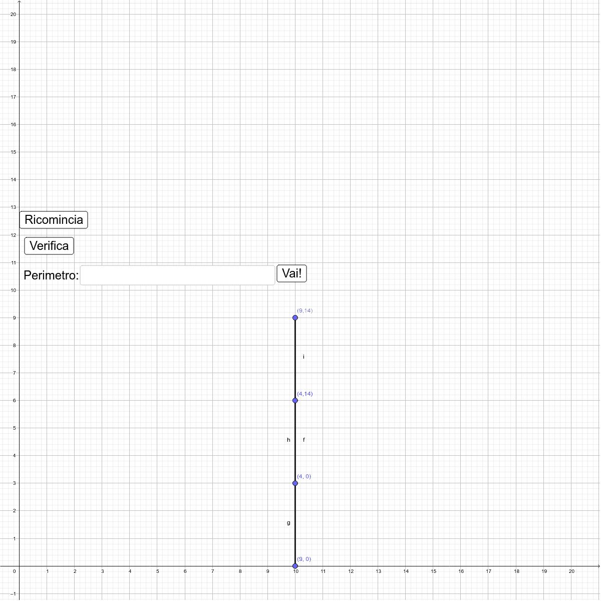 Scopo del gioco: ordina i punti e trova il perimetro del rettangolo Premi Invio per avviare l'attività