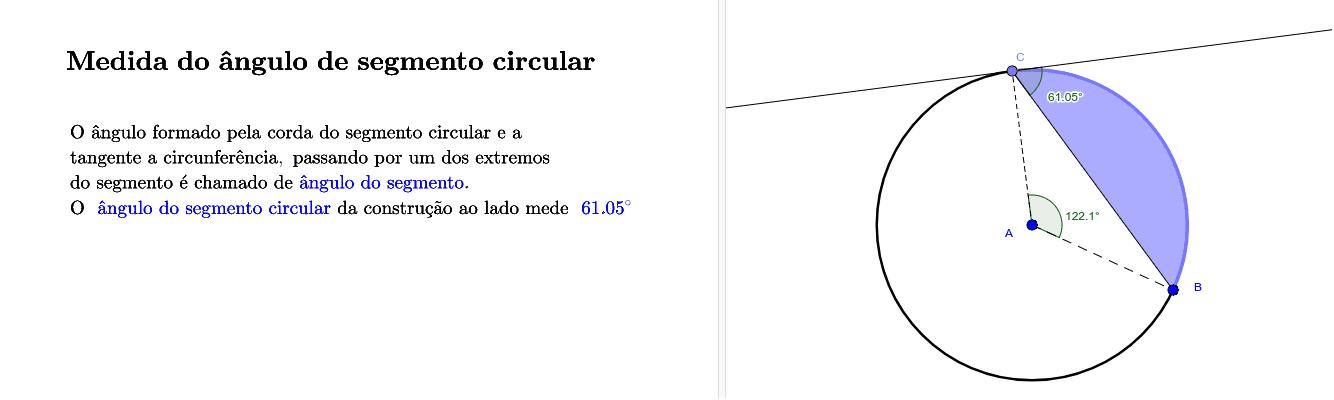 Medida do ângulo de segmento circular