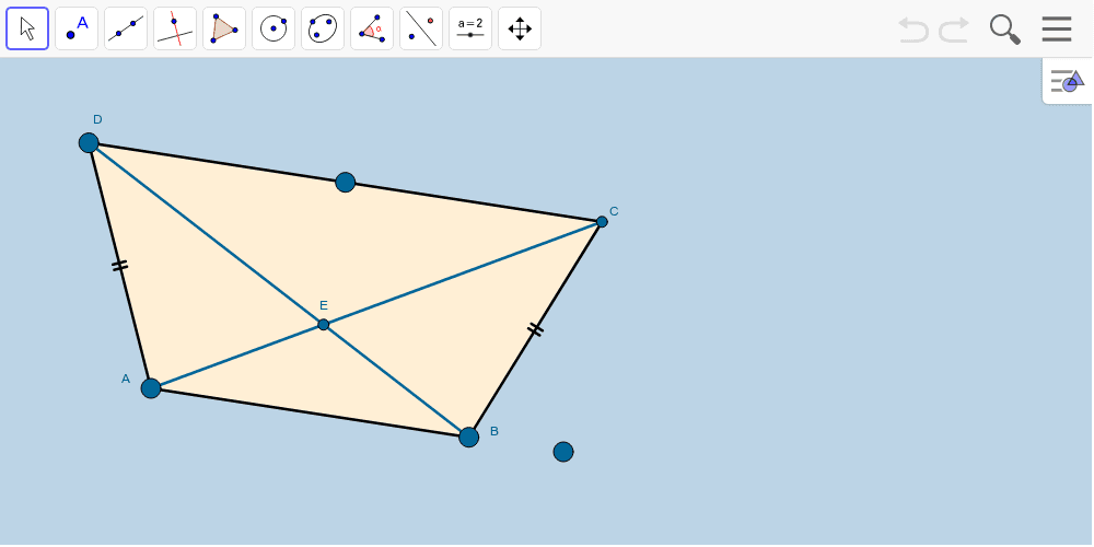 The applet below contains a quadrilateral that ALWAYS remains an ISOSCELES TRAPEZOID.  Be sure to move the BIG BLUE VERTICES of this ISOSCELES TRAPEZOID around. Press Enter to start activity
