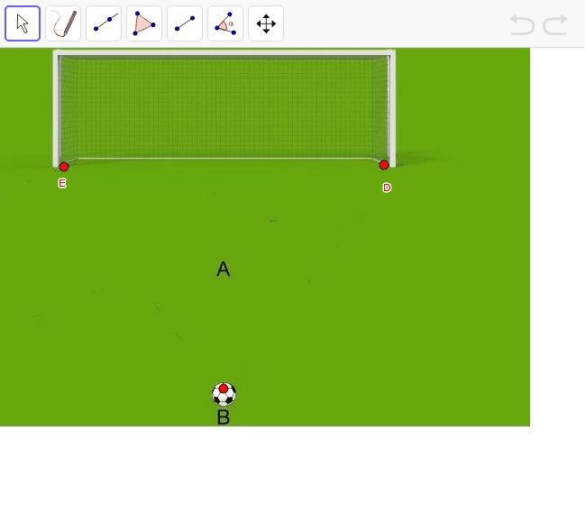 Use a ferramenta caneta, ou outra qualquer, para mostrar em que região do campo é mais fácil que em A para acertar o gol. Press Enter to start activity