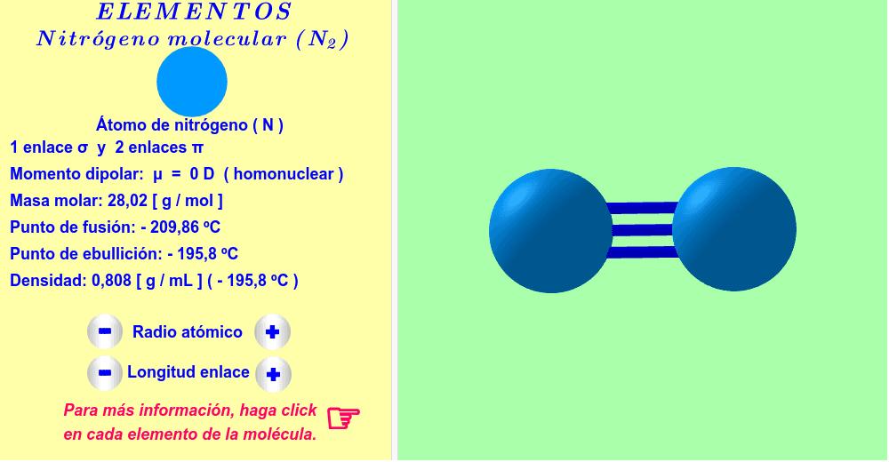 Nitrógeno ( haga click en cada elemento de la molécula ).