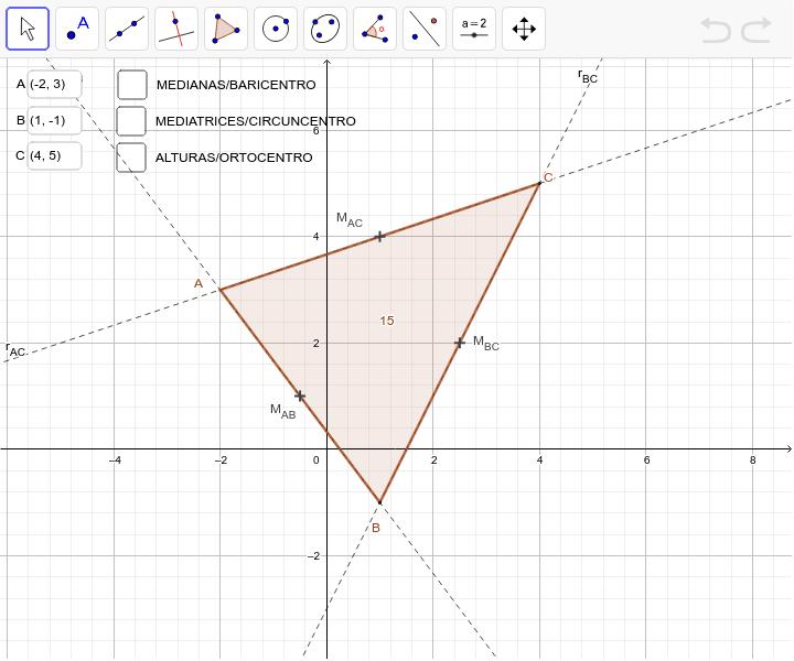 Cambia os puntos A, B y C para obter os centros (BARICENTRO/ORTOCENTRO/CIRCUNCENTRO) do triágulo que desexes. Presiona Intro para comezar a actividade