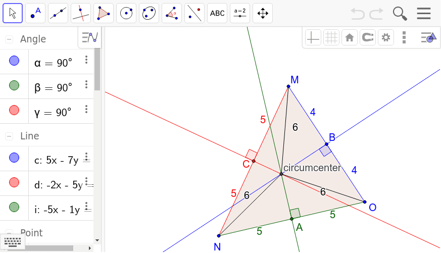 Move the vertices of the triangle to discover the properties of the circumcenter. Press Enter to start activity