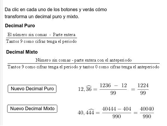 Ejemplo: Conversión de decimales puros y mixtos a fracciones Presiona Intro para comenzar la actividad