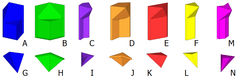[size=100]These are the fourteen basic building units. For coding purposes, they are labeled from A to N. Usage of different colors is a way to improve the readability of a design. Occasionally, one may need rare building units. More often, one may need half building units, for example half of large biped J.[/size]