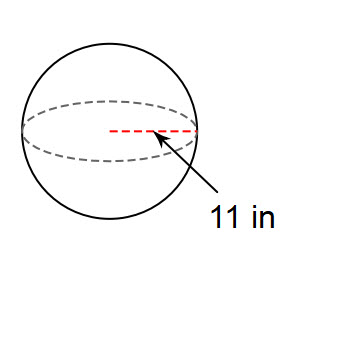 You try #2. Find the surface area of a sphere with a radius of 11 in. Use 3.14 for pi.