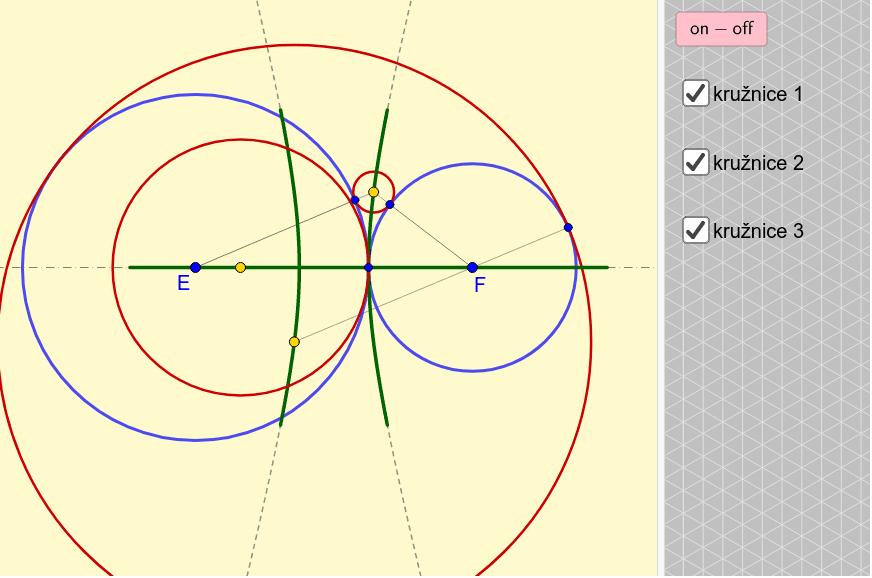 Poloha 2 - Přímka + hyperbola