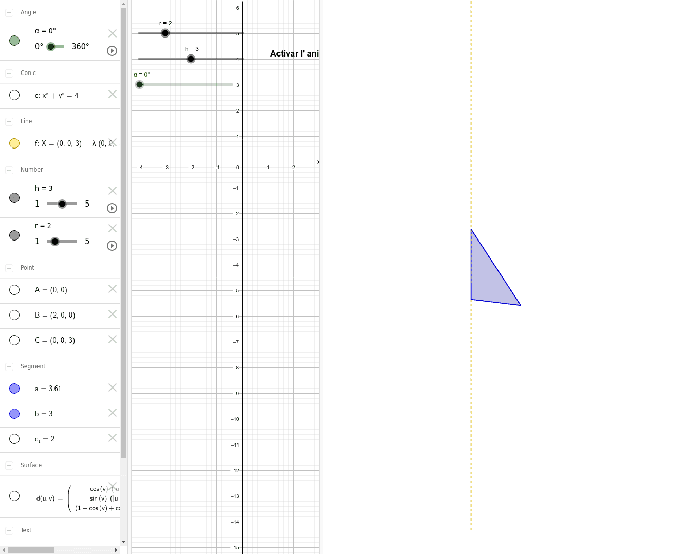 cos generat per la rotació d'un triangle rectangle Presiona Intro para comenzar la actividad